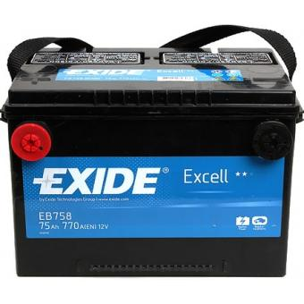 EB758, **АКБ Exide  US types 12V 75Ah  770EN  260x180x186 +/-  US 