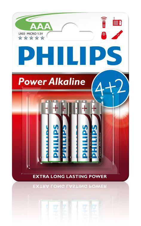 LR03 Powe Alkaline B6, Батарейка Philips Power Alkaline AAA B6 (6 шт.),