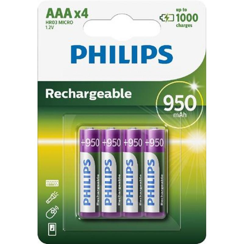 R03 MULTILIFE B4, Батарейка Philips Rechargeable 950 mAh AAA B4 (4шт.),