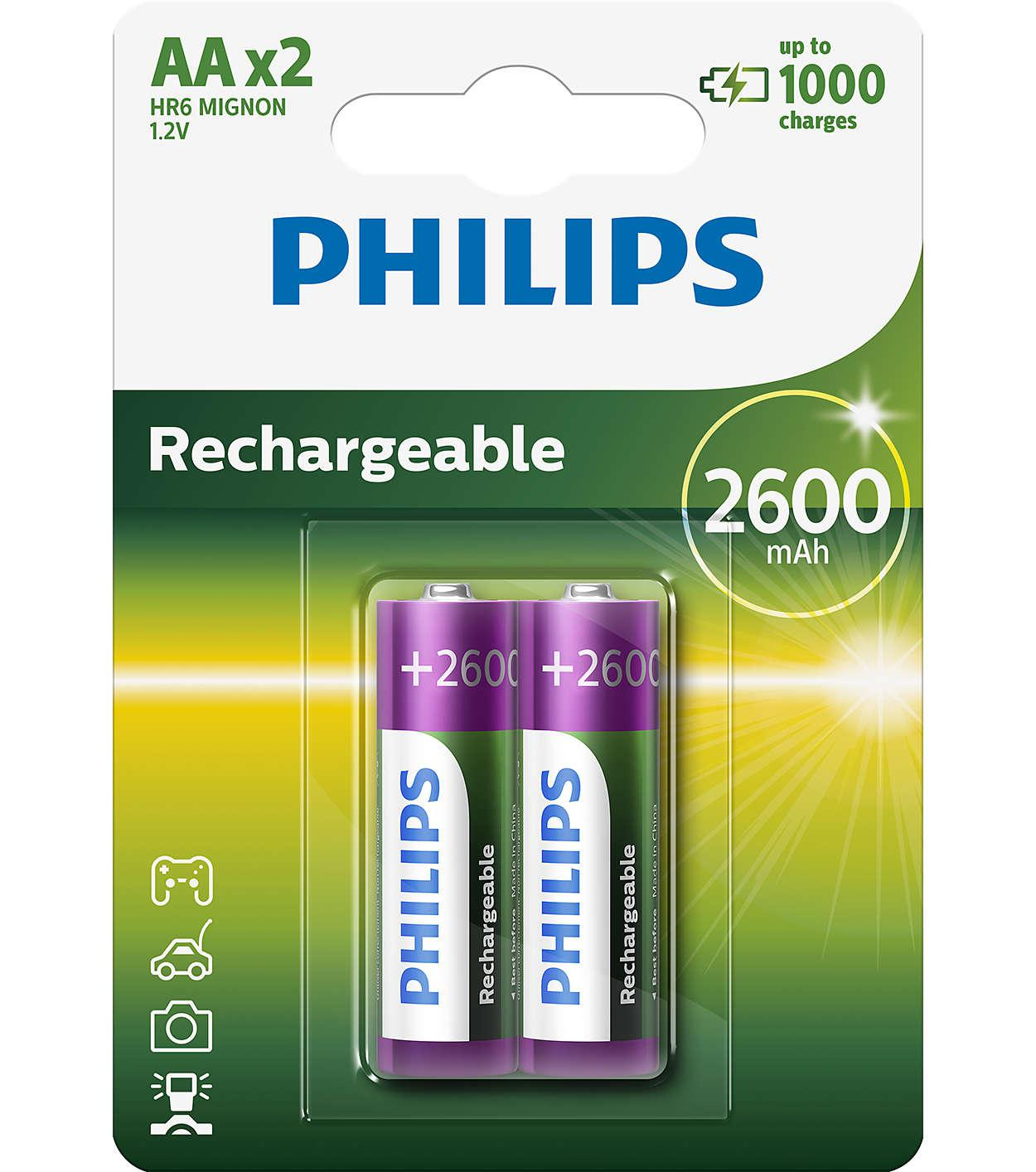 R6 MULTILIFE B2, Батарейка Philips Rechargeable 2600 mAh AA B2 (2 шт.),