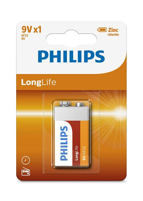 6F22/ 9V LONGLIFE B1, Батарейка Philips 9V LONGLIFE B1 (1 шт.),