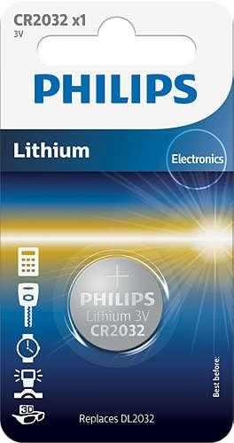 CR2032 3.0V, Батарейка Philips Lithium 3.0V coin 1-blister (20.0 x 3.2) (1 шт.),
