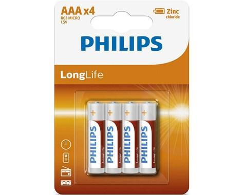 R03 LONGLIFE B4, Батарейка Philips LONGLIFE AAA B4 (4шт.),
